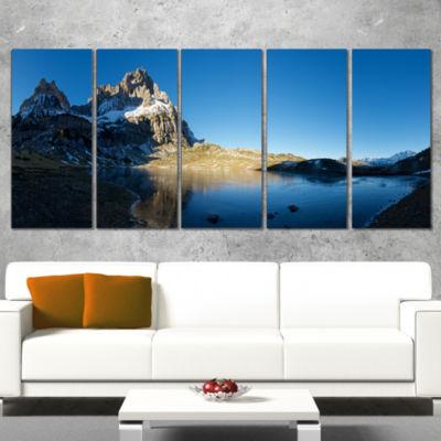 Designart Payrenees Mountains Landscape Modern Seascape Wrapped Canvas Artwork - 5 Panels