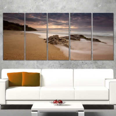 Designart Peaceful Seashore With White Waves BeachPhoto Canvas Print - 5 Panels