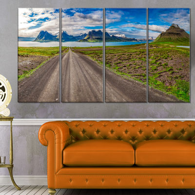 Designart Peaks and Fjords Panoramic View Landscape Print Wall Artwork - 4 Panels