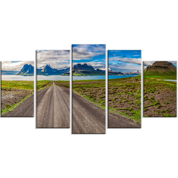 Designart Peaks and Fjords Panoramic View Landscape Print Wrapped Artwork - 5 Panels