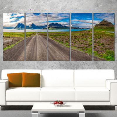 Designart Peaks and Fjords Panoramic View Landscape Print Wall Artwork - 5 Panels