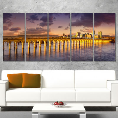 Designart Pennsylvania Railroad Bridge Skyline Landscape Wrapped Canvas Art Print - 5 Panels