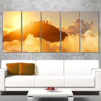 Designart People Enjoying Sunset on Top of Mountain Landscape Canvas Art Print - 4 Panels