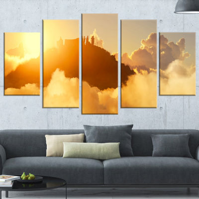 People Enjoying Sunset on Top of Mountain Landscape Wrapped Canvas Art Print - 5 Panels