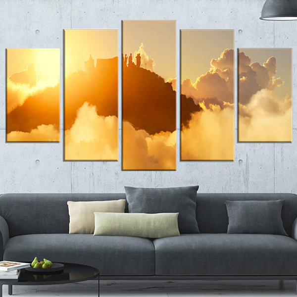 Designart People Enjoying Sunset on Top of Mountain Landscape Wrapped Canvas Art Print - 5 Panels