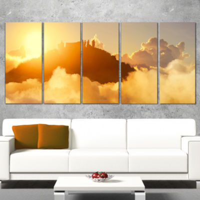 People Enjoying Sunset on Top of Mountain Landscape Canvas Art Print - 5 Panels