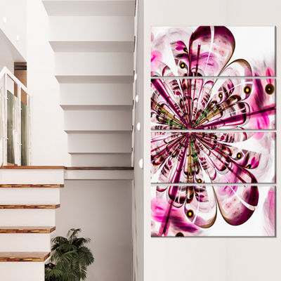 Designart Perfect Digital Flower Art in Dark PinkFloral Canvas Art Print - 4 Panels