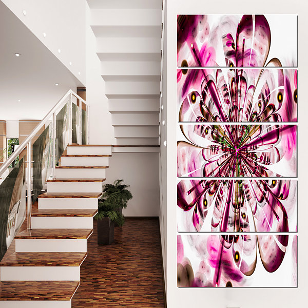 Perfect Digital Flower Art in Dark Pink Floral Canvas Art Print - 5 Panels