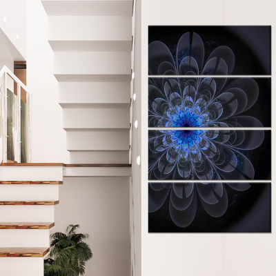 Designart Perfect Digital Flower Art in Dark Purple Floral Canvas Art Print - 4 Panels