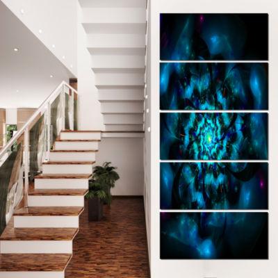Designart Perfect Fractal Flower in Black and BlueFloral Canvas Art Print - 4 Panels