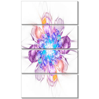 Designart Perfect Fractal Flower in Multi Colors Floral Canvas Art Print - 4 Panels