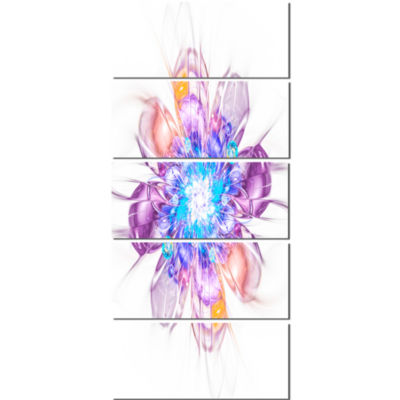 Perfect Fractal Flower in Multi Colors Floral Canvas Art Print - 5 Panels