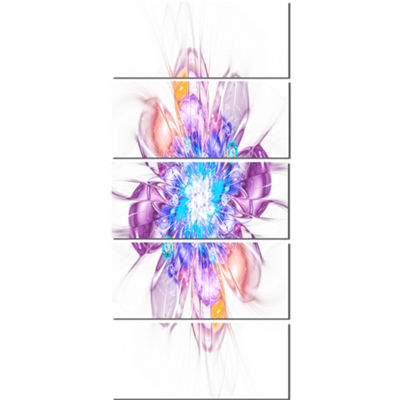 Designart Perfect Fractal Flower in Multi Colors Floral Canvas Art Print - 5 Panels