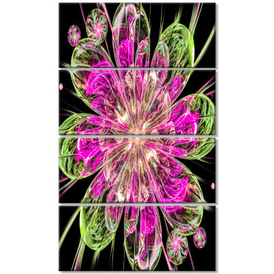 Perfect Fractal Flower in Pink and Green Floral Canvas Art Print - 4 Panels