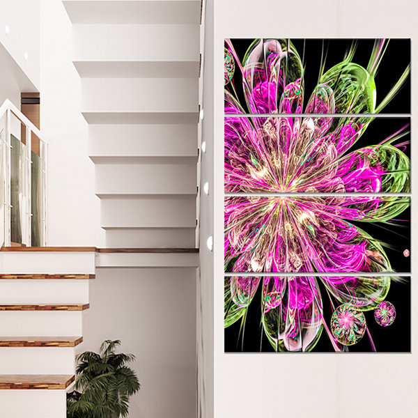 Designart Perfect Fractal Flower in Pink and GreenFloral Canvas Art Print - 4 Panels