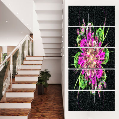 Designart Perfect Fractal Flower in Purple and Green FloralArt Canvas Print - 5 Panels