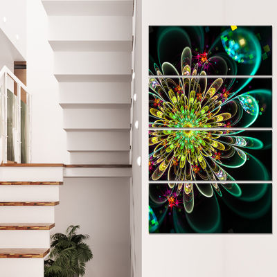 Designart Perfect Shiny Fractal Flower in Green Floral Canvas Art Print - 4 Panels