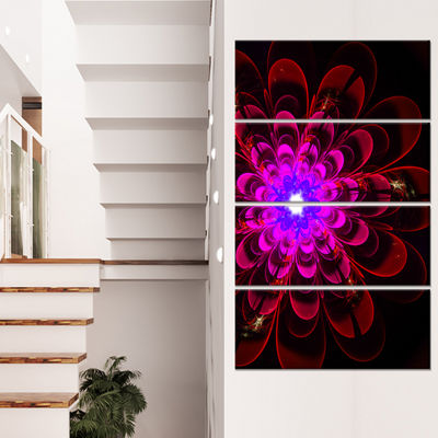 Designart Perfect Shiny Fractal Flower in MagentaFloral Canvas Art Print - 4 Panels