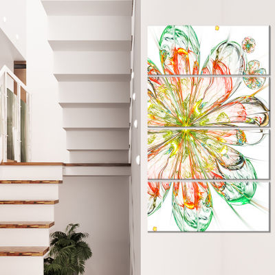 Designart Perfect Shiny Fractal Flower in Red Green Floral Canvas Art Print - 4 Panels