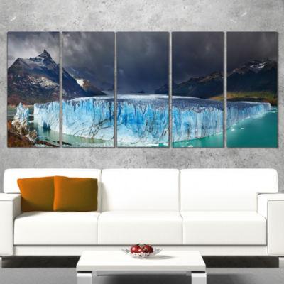 Designart Perito Moreno Glacier Photography CanvasArt Print- 5 Panels