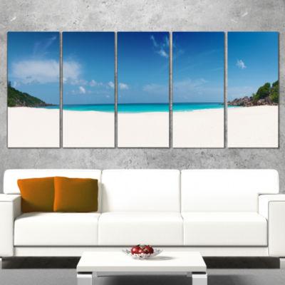 Designart Petite Anse Beach La Digue Island Seascape WrappedCanvas Art Print - 5 Panels