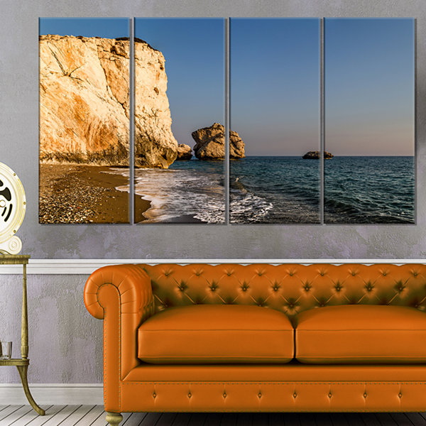 Designart Petra Tou Romiou Or Aphrodite S Rock Seashore Canvas Art Print - 4 Panels