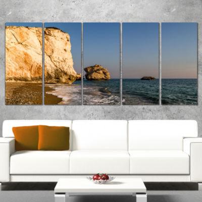 Petra Tou Romiou Or Aphrodite S Rock Seashore Wrapped Canvas Art Print - 5 Panels