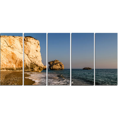 Designart Petra Tou Romiou Or Aphrodite S Rock Seashore Canvas Art Print - 5 Panels