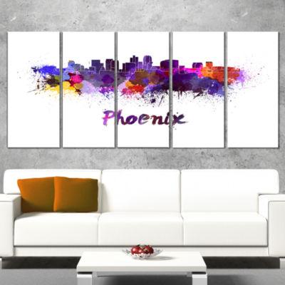 Designart Phoenix Skyline Cityscape Canvas ArtworkPrint - 4Panels