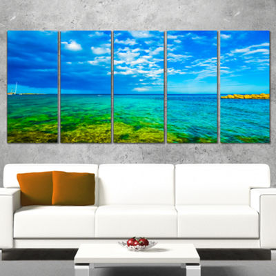 Designart Picturesque Green Blue Seashore Modern Seascape Wrapped Canvas Artwork - 5 Panels
