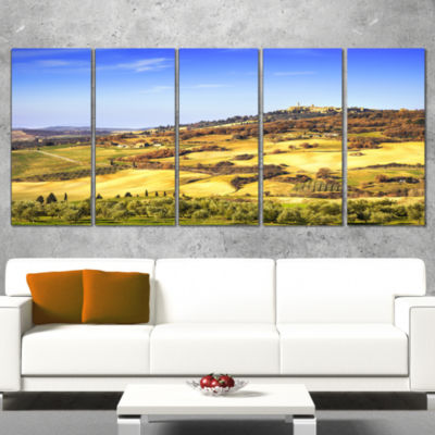 Pienza Medieval Village Italy Oversized LandscapeWall Art Print - 4 Panels