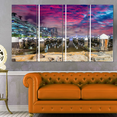 Pier At Melbourne Harbor Seascape Photography Canvas Art Print - 4 Panels