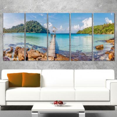 Pier To The Island Panorama Landscape PhotographyCanvas Print - 5 Panels