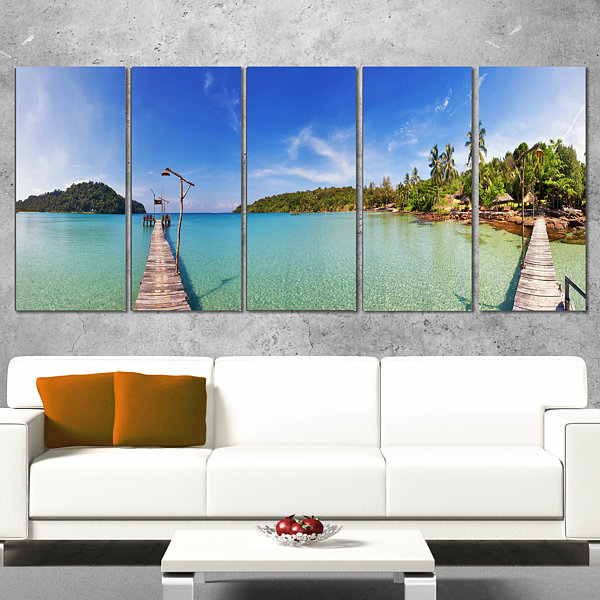 Piers and Palm Trees on Island Landscape Photography Canvas Print - 5 Panels
