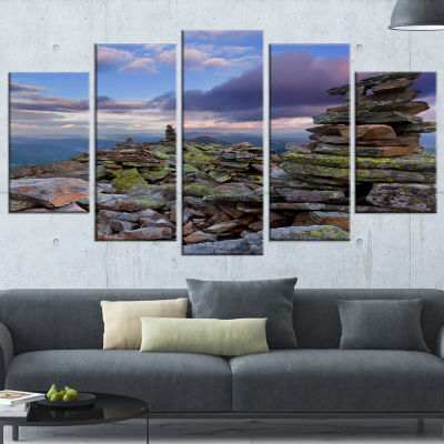 Designart Piled Stones in Summer Mountains Landscape Photography Wrapped Canvas Print - 5 Panels