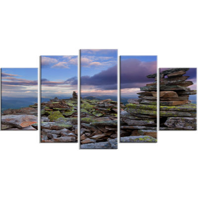 Piled Stones in Summer Mountains Landscape Photography Canvas Print - 5 Panels