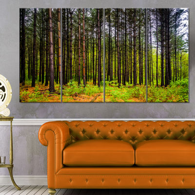 Designart Pine Trees in Michaux Forest Modern Forest CanvasArt - 4 Panels