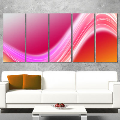 Designart Pink Abstract Curved Lines Abstract Canvas Art Print - 5 Panels