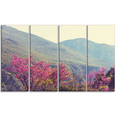 Pink Blossoming Flowers in Mountains Floral CanvasArt Print - 4 Panels