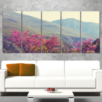 Designart Pink Blossoming Flowers in Mountains Floral CanvasArt Print - 4 Panels