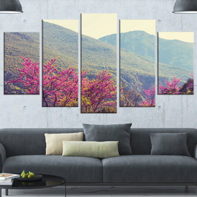 Designart Pink Blossoming Flowers in Mountains Floral Wrapped Canvas Art Print - 5 Panels