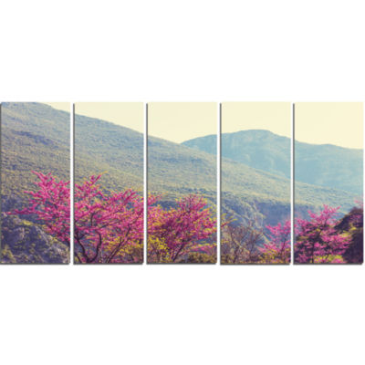 Pink Blossoming Flowers in Mountains Floral CanvasArt Print - 5 Panels
