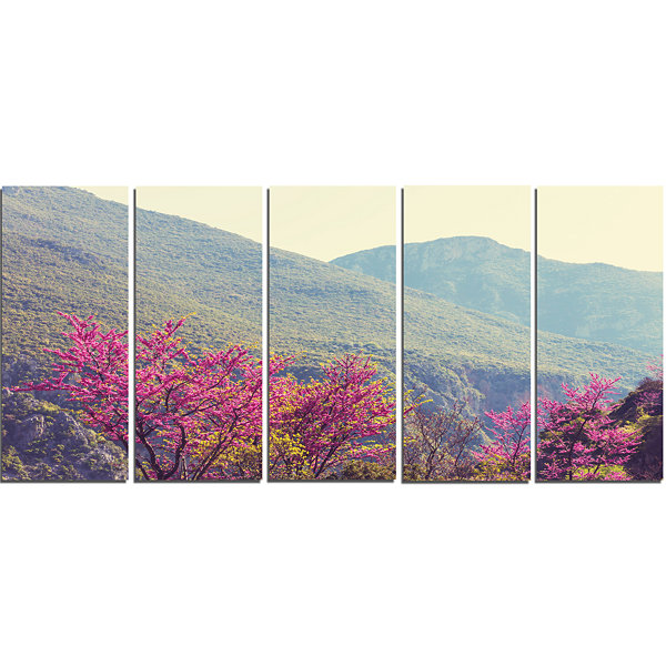Designart Pink Blossoming Flowers in Mountains Floral CanvasArt Print - 5 Panels