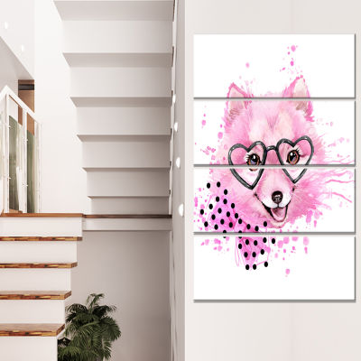 Pink Dog With Heart Glasses Contemporary Animal Art Canvas - 4 Panels