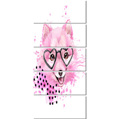 Designart Pink Dog With Heart Glasses ContemporaryAnimal Art Canvas - 5 Panels