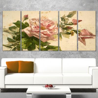 Designart Pink Flower Illustration Floral PaintingCanvas -4 Panels
