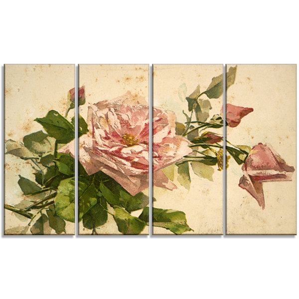 Designart Pink Flower Illustration Floral PaintingCanvas -4 Panels