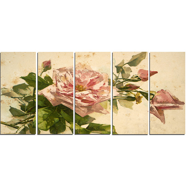 Designart Pink Flower Illustration Floral PaintingCanvas -5 Panels