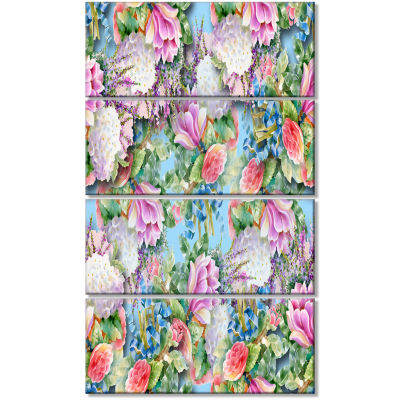 Pink Flower Pattern on Blue Floral Canvas Art Print - 4 Panels