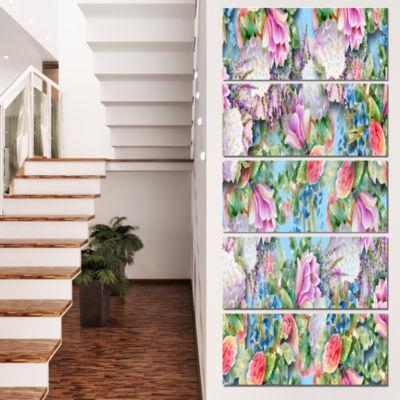 Designart Pink Flower Pattern on Blue Floral Canvas Art Print - 5 Panels